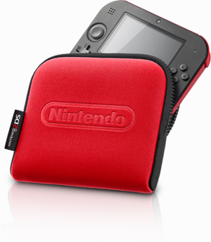 Nintendo 2DS red and pouch image