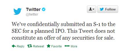 Twitter IPO Tweet image