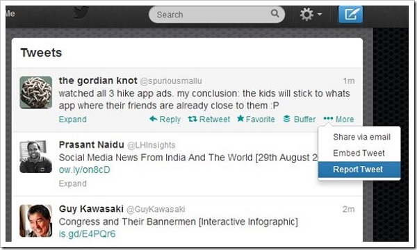 Twitter Report Tweet Button image
