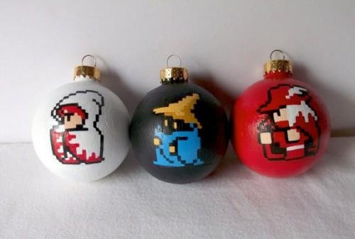 8-bit Final Fantasy ornaments by GingerPots