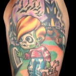 Creepy trick and treat tattoo