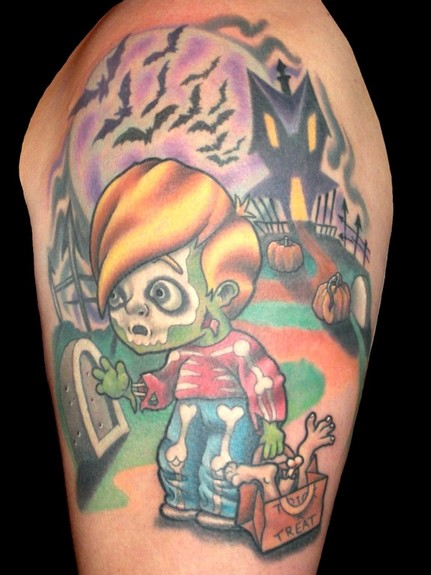 Creepy trick and treat tattoo