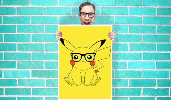 Hipster Pikachu poster
