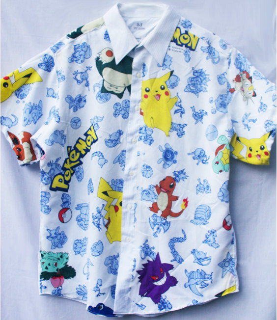 Men shirt made out of recycled Pokémon sheets