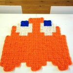 Pac-Man Orange Ghost Crochet Blanket by AtomicBits