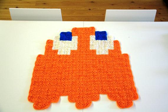 Pac-Man Orange Ghost Crochet Blanket by AtomicBits