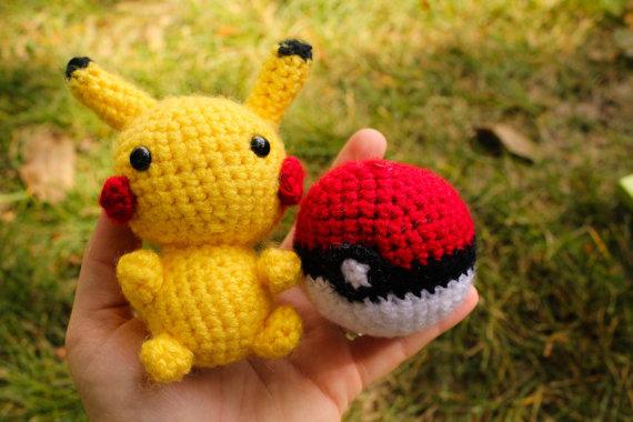 Pikachu and Pokéball crochet dolls
