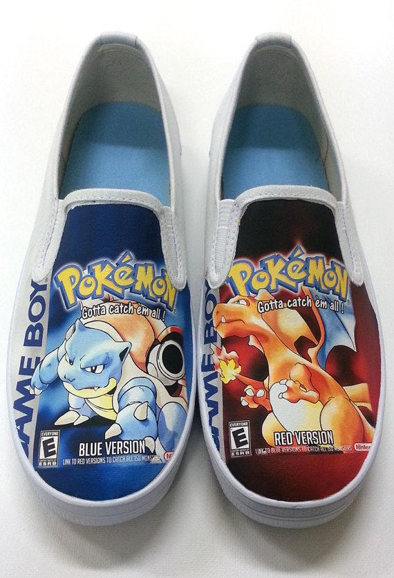 Pokémon Blue and Red box art canvas shoes