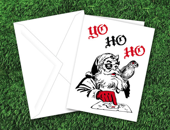 'Yo Ho Ho' Pirate Santa Christmas Card