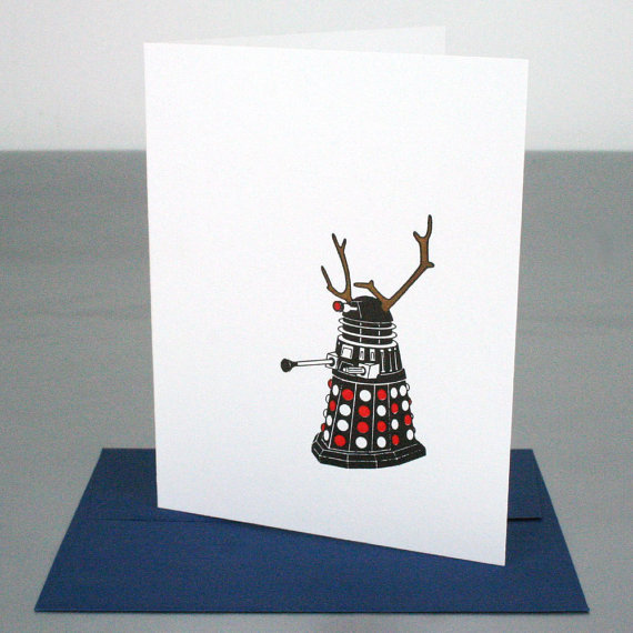 Doctor Who Dalek Reindeer Christmas Holiday Letterpress Card