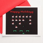 Space Invaders Happy Holidays Greeting Card