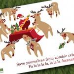 Zombie Reindeer Christmas Card