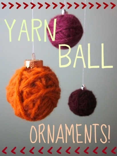 Balls of yarn ornaments