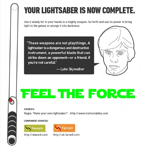 how to make your own lightsaber infographic 06 walyou