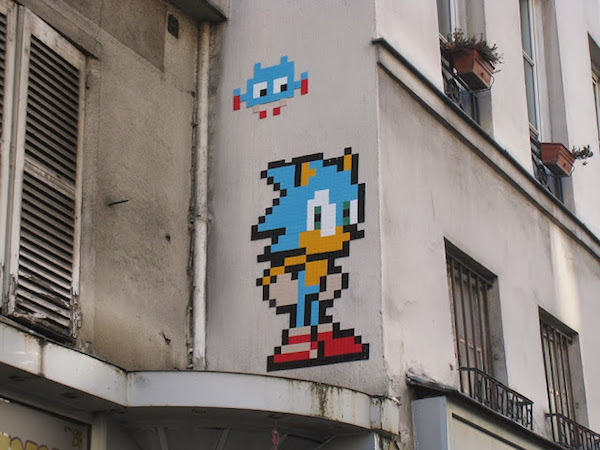 Sonic in Paris street art by Invader image 1