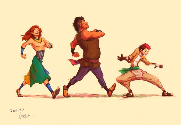 Humanized Timon, Pumbaa, Simba