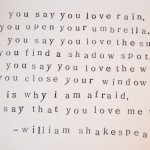 You say you love rain…