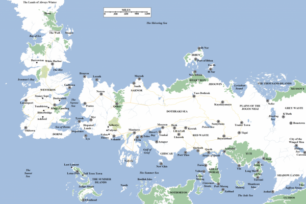 Map of Westeros and Essos
