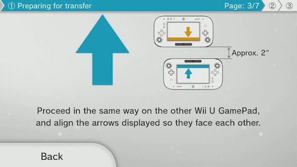 Wii U system transfer GamePad image