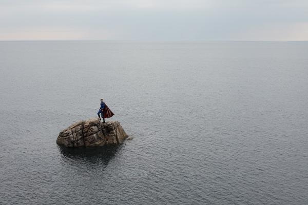 Superman on a tiny island