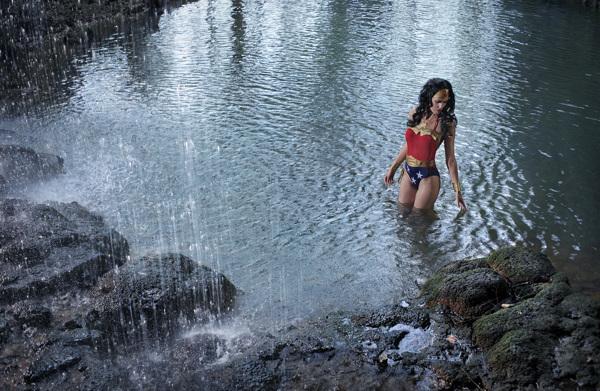 Wonder Woman in the lake