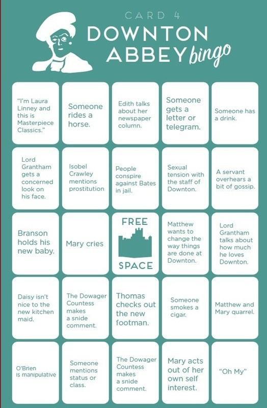 Downtown Abbey Bingo