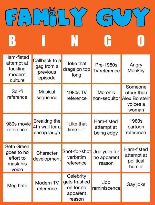 Family Guy Bingo