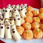 Banana ghost and orange pumpkins