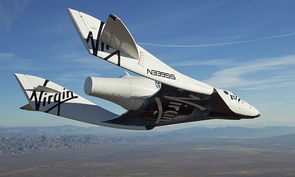 Virgin Galactic?s SpaceShipTwo on its first test flight over the Mojave Desert, California