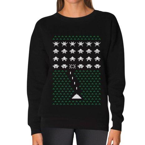 Space Geeky Ugly Christmas Sweater Invaders Funny Xmas Women Sweatshirt