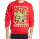 Teenage Mutant Ninja Turtles Men's TMNT Group and Pizza Ugly Christmas Sweater