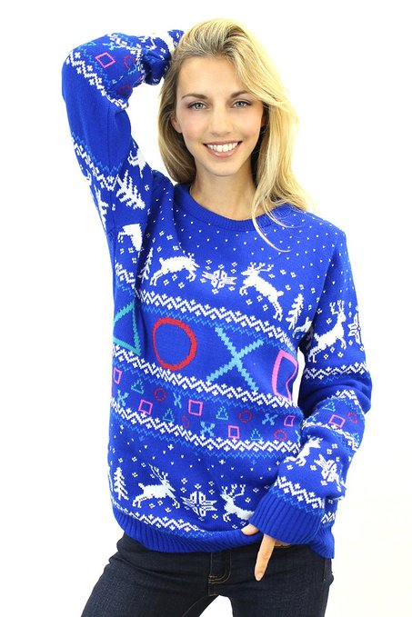 geeky PlayStation Symbols Christmas Sweater