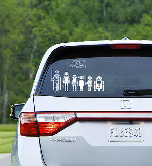 Geeky Car Accesories Star Wars Family Car Decals