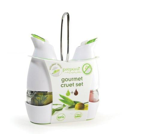 kitchen gadgets Prepara Gourmet Cruet Set with Chrome Carrier