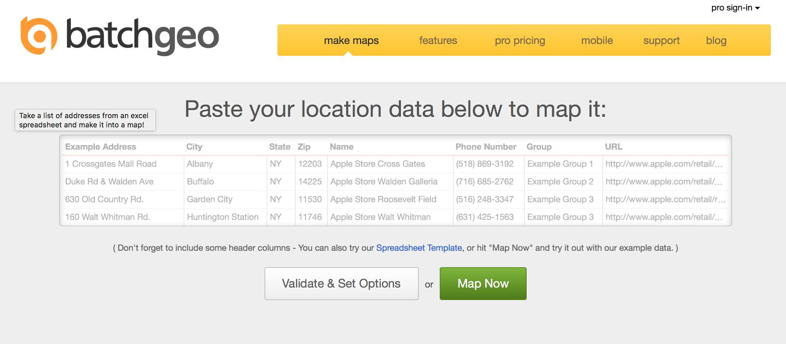 tools for  creating map  Batchgeo