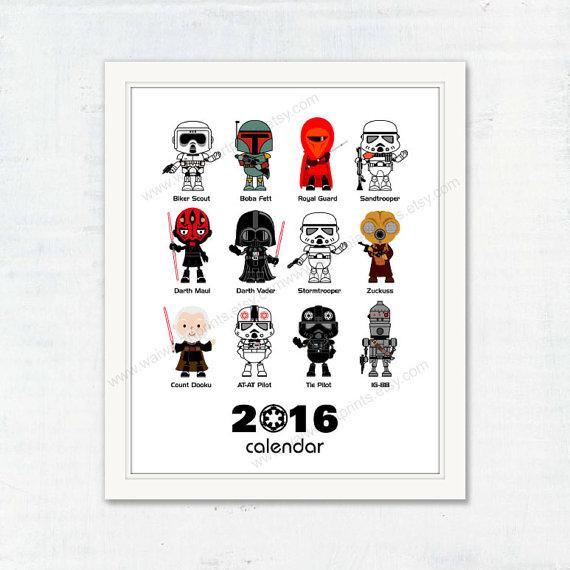 2016 Calendar, Nursery Art Print. Star Wars Calendar