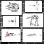 6 Star Wars Vehicles movie posters minimalist poster