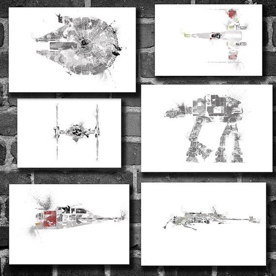 6 Star Wars Vehicles movie posters minimalist poster