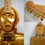 C3PO electric handmade star wars guitar, collectors case, Custom Gold