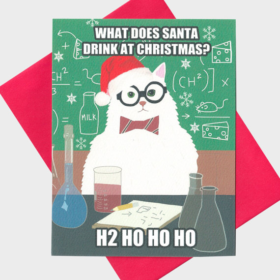 Chemistry Cat funny Christmas Card