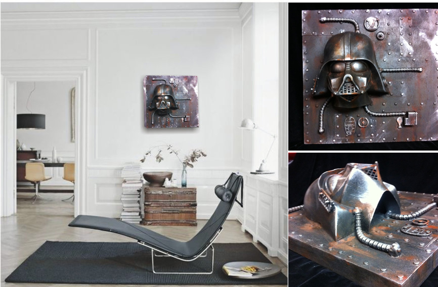 Industrial Steampunk Darth Vader Rusted metal Wall Sculpture Star Wars