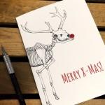 Merry X-Mas – Reindeer Anatomy – Nerdy Christmas Card –