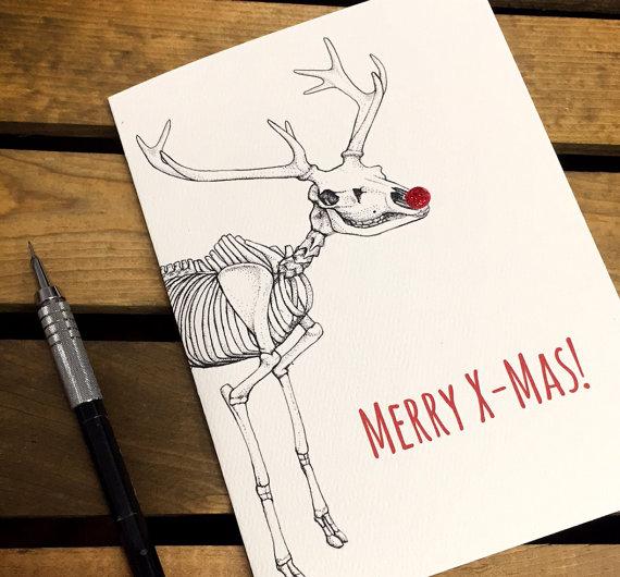 Merry X-Mas - Reindeer Anatomy - Nerdy Christmas Card -