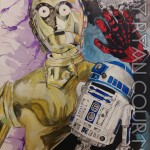 ORIGINAL Star Wars- C-3PO & R2-D2 Watwrcolor Painting