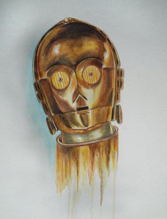 Original Star Wars Painting C3P0 Watercolor