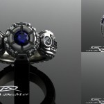 R2D2 engagement ring in hypoallergenic grey gold with diamonds and very fine blue sapphires. The most durable Star Wars wedding ring in 14k