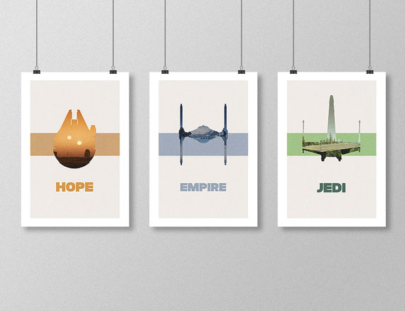 STAR WARS Inspired Original Trilogy Minimalist Movie Poster Print Set
