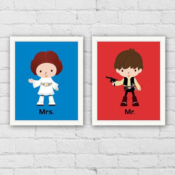 Star Wars Art Prints. Mr. Mrs. Bedroom Wall Decor.