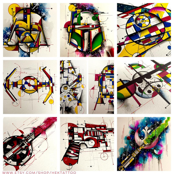 Star Wars inspired PRINTS from original watercolor paintings