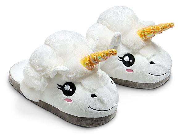 gift ideas for geeks under 30 bucks Plush Unicorn Slippers for Grown Ups